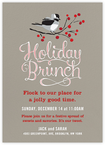 Holiday Brunch Birds - Crate & Barrel - Invitations