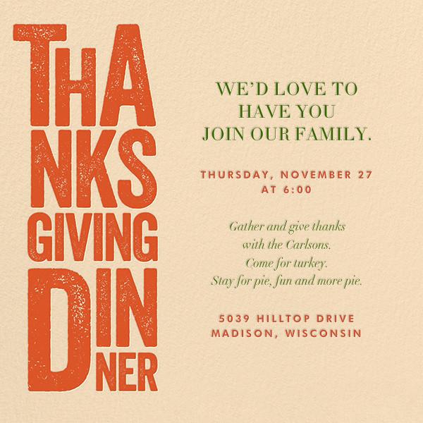 Thanksgiving Woodblock - Crate & Barrel - Thanksgiving invitations