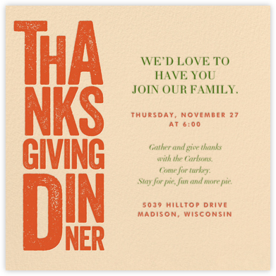 Thanksgiving Woodblock - Crate & Barrel - Thanksgiving invitations
