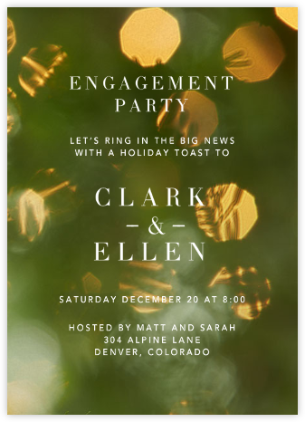 Holiday Engagement - Crate & Barrel - Engagement party invitations
