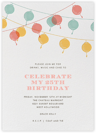 Lanterns - Yellow - Paperless Post - Adult Birthday Invitations