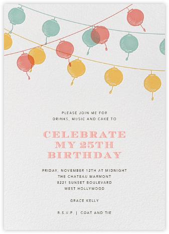 Lanterns - Yellow - Paperless Post - Adult Birthday Invitations