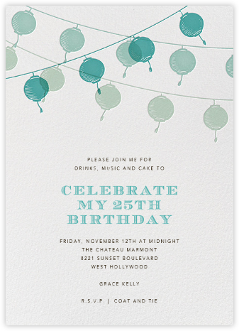 Lanterns - Teal - Paperless Post - Adult Birthday Invitations