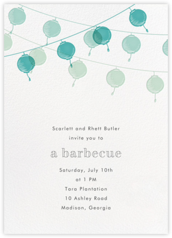 Lanterns - Teal - Paperless Post - Barbecue and picnic invitations