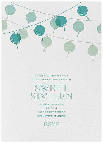 Lanterns - Teal - Paperless Post - Sweet 16 invitations