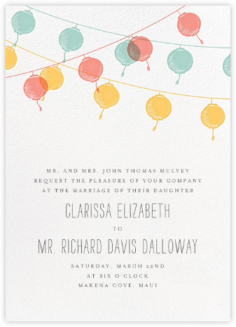 Lanterns - Yellow - Paperless Post - Bridal shower invitations
