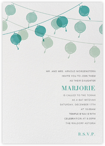 Lanterns - Teal - Paperless Post - Religious invitations