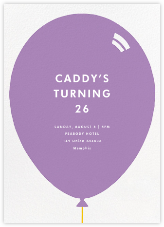 Birthday Balloon - Lilac - Paperless Post - Adult Birthday Invitations