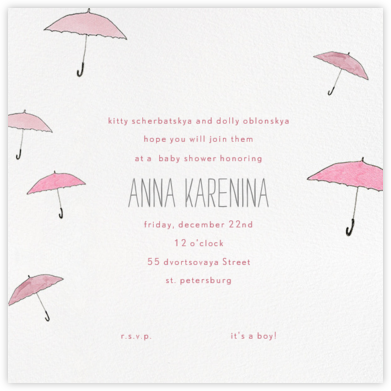 Umbrellas - Pink - Paperless Post - Baby Shower Invitations