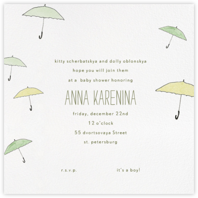 Umbrellas - Green - Paperless Post - Baby Shower Invitations
