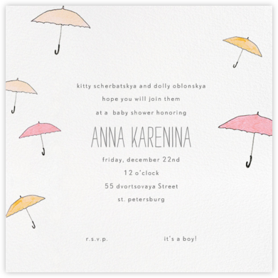 Umbrellas - Orange - Paperless Post - Baby Shower Invitations