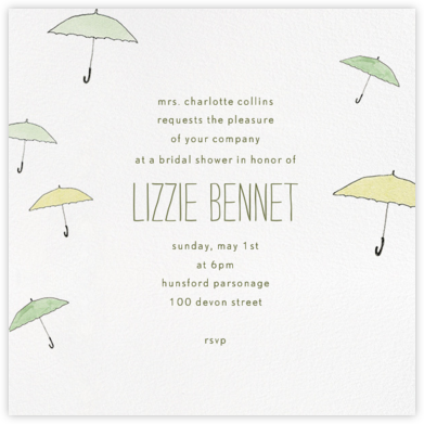 Umbrellas - Green - Paperless Post - Bridal shower invitations