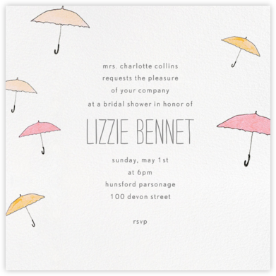 Umbrellas - Orange - Paperless Post - Bridal shower invitations