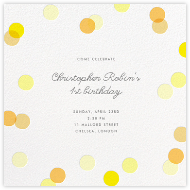 Carnaby - Yellow - Paperless Post - First Birthday Invitations