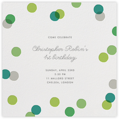 Carnaby - Green - Paperless Post - First Birthday Invitations