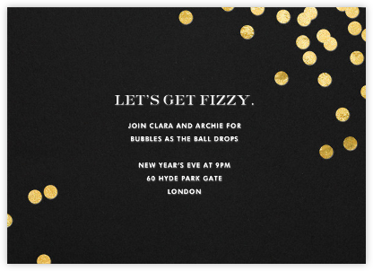 Confetti - Black/Gold - kate spade new york - New Year's Eve Invitations