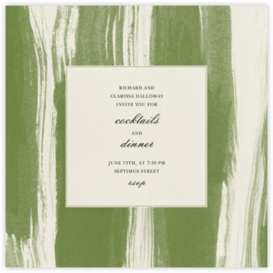Watercolor - Green - Oscar de la Renta - Dinner Party Invitations