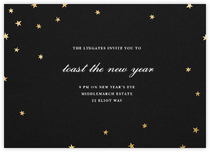 Nightly - Black/Gold - Paperless Post - New Year's Eve Invitations