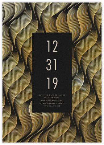 Vertical Waves - Gold - Paperless Post - New Year's Eve Invitations