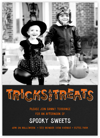 Tricks and Treats - Photo (Tall) - Paperless Post - Online Party Invitations