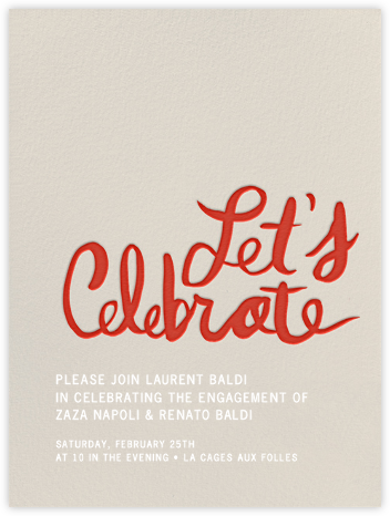 Let's Celebrate - Red - Linda and Harriett - Engagement party invitations