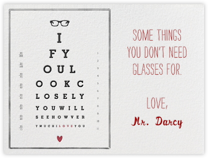 Eye Chart - Mr. Boddington's Studio - Valentine's Day Cards