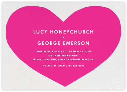 Heart - Pink - The Indigo Bunting - Engagement party invitations