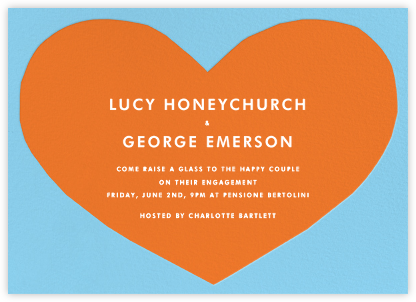 Heart - Blue Orange - The Indigo Bunting - Engagement party invitations