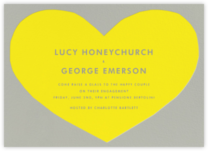 Heart - Yellow Gray - The Indigo Bunting - Engagement party invitations