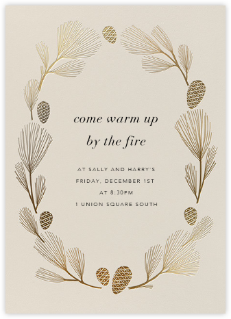 Sugar Pine - Santa Fe/Gold - Paperless Post - Winter Party Invitations