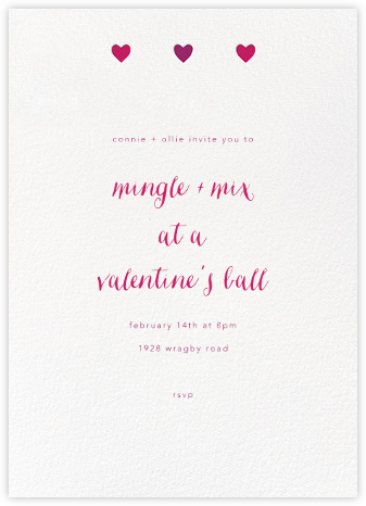 Triple Hearts - Paperless Post - Valentine's Day invitations