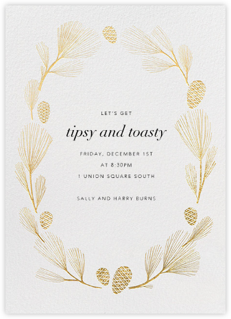 Sugar Pine - Ivory/Gold - Paperless Post - Winter Party Invitations
