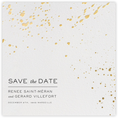 Splatter Cloth II (Save the Date) - Gold - Paperless Post - Modern save the dates