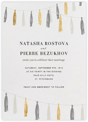 Tasseled II - Gold Grey - Paperless Post - Wedding Invitations