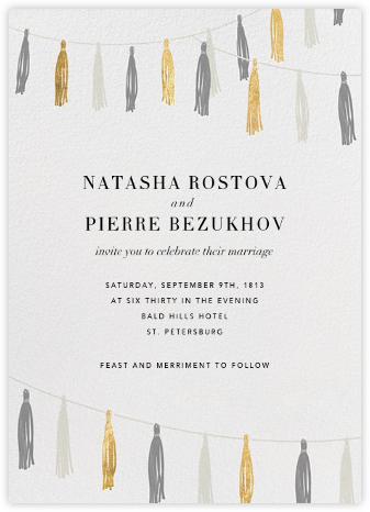 Tasseled II - Gold Grey - Paperless Post - Wedding Invitations