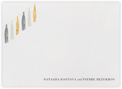 Tasseled II (Stationery) - Gold Grey - Paperless Post - Personalized Stationery