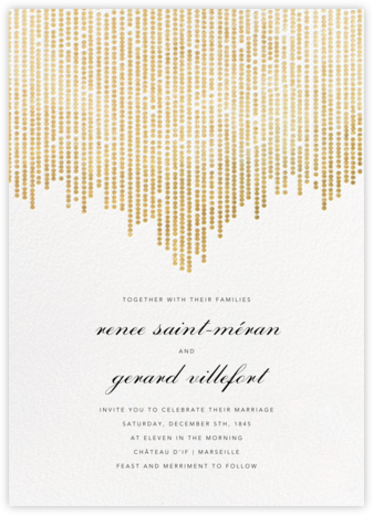 Josephine Baker - White/Gold - Paperless Post - Wedding Invitations