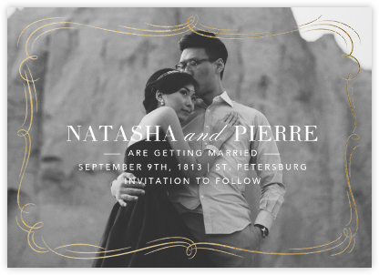 Plume (Photo Save the Date) - Gold - Paperless Post - Save the dates