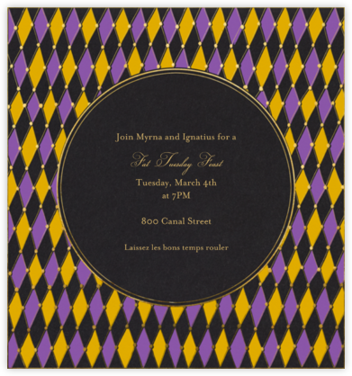 Harlequin Diamonds - Paperless Post - Mardi Gras invitations