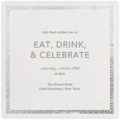 Greek Key (Metallic) - Silver - Jonathan Adler - Jonathan Adler invitations