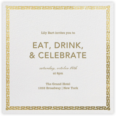 Greek Key (Metallic) - Gold - Jonathan Adler - Jonathan Adler invitations