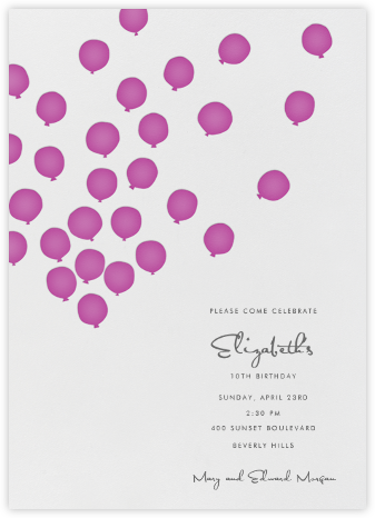 Balloons - Fuschia  - Linda and Harriett - Online Kids' Birthday Invitations