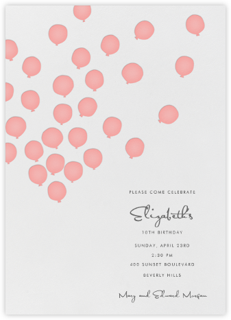 Balloons- Blossom - Linda and Harriett - First Birthday Invitations