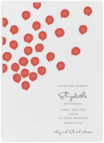Balloons- Red - Linda and Harriett - First Birthday Invitations