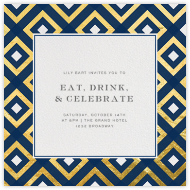 Bobo - Navy and Gold - Jonathan Adler - Dinner Party Invitations