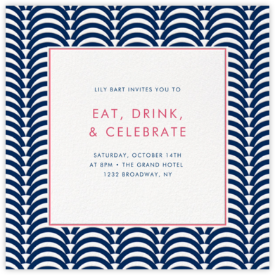 Arches - Navy - Jonathan Adler - Adult birthday invitations
