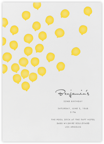Balloons- Mustard - Linda and Harriett - Adult Birthday Invitations
