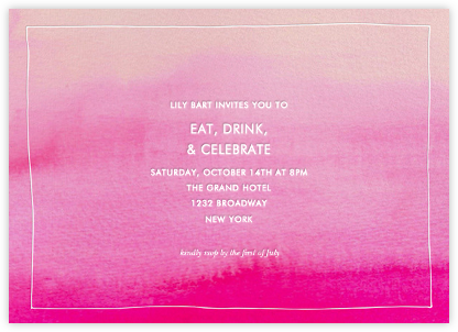 Pink Watercolor - Linda and Harriett - Adult birthday invitations