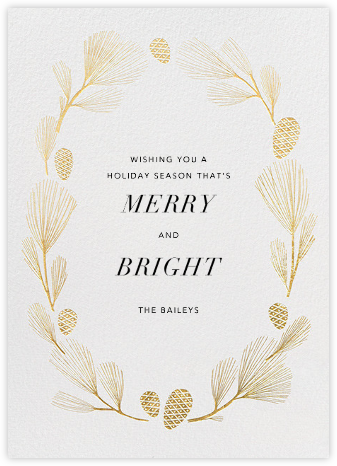 Sugar Pine - Ivory/Gold - Paperless Post - Holiday Cards