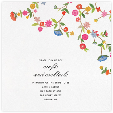 Stitched Floral II - Save The Date  - Oscar de la Renta - Bridal shower invitations